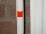 warme radiator, de radiator sticker is verkleurd